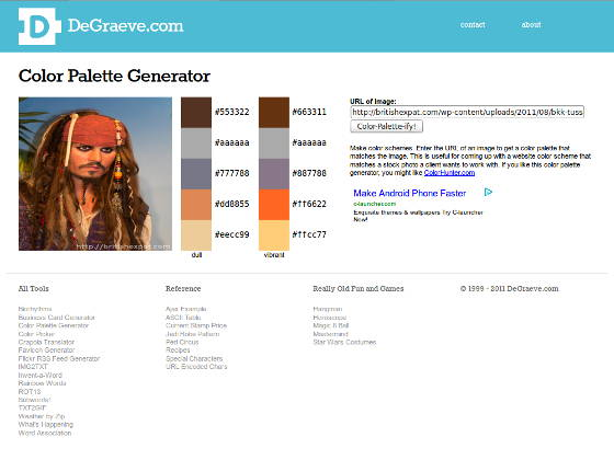 Screenshot of the DeGraeve palette generator in action