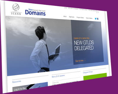 Screenshot of ICANN's gTLDs website