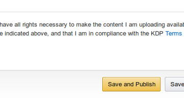 "Screenshot of Kindle Direct Publishing's ""confirm publication rights"" button"