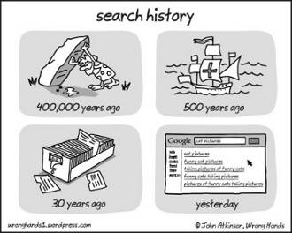 Cartoon showing searches 400,000 years ago (under a rock), 500 years ago (in a ship), 30 years ago (card index) and yesterday (Google)