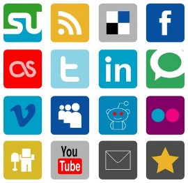 Grid of 16 social media and other sharing icons
