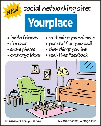 "Satirical cartoon of a ""social networking site"", Yourplace, depicting a living-room"